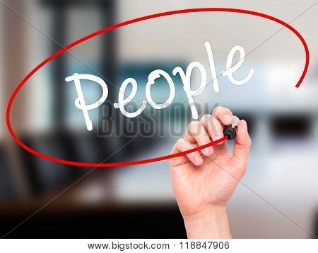 Man Hand Writing People With Black Marker On Visual Screen