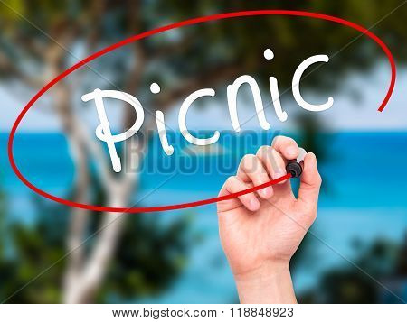 Man Hand Writing Picnic With Black Marker On Visual Screen