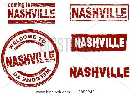 Ink stamp set city Nashville