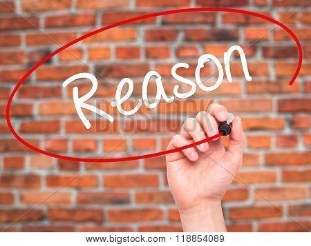 Man Hand Writing Reason With Black Marker On Visual Screen