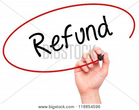 Man Hand Writing Refund With Black Marker On Visual Screen