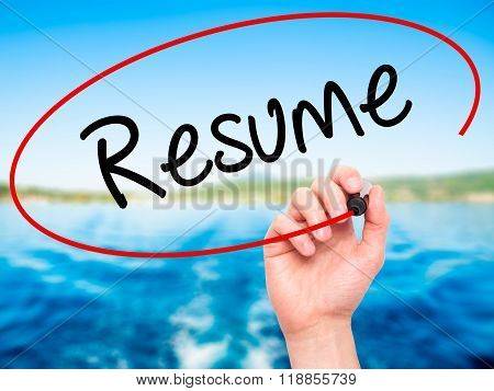 Man Hand Writing Resume With Black Marker On Visual Screen