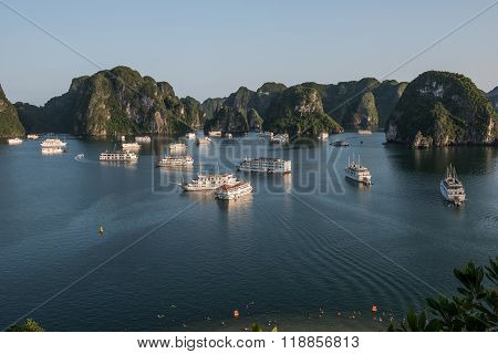 Tourist Boats Seen At Distance