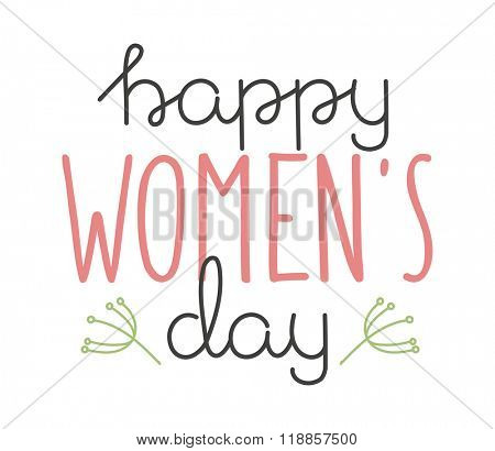 International Womens Day text 8 March for celebration greeting card design. Womens Day vector illustration. Womens Day hand drawn style