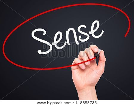 Man Hand Writing  Sense With Black Marker On Visual Screen