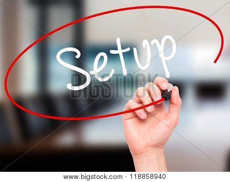 Man Hand Writing Setup  With Black Marker On Visual Screen
