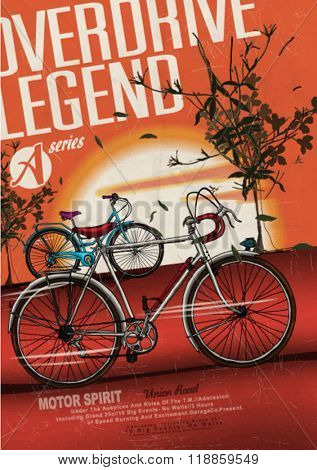 bicycle race illustration poster