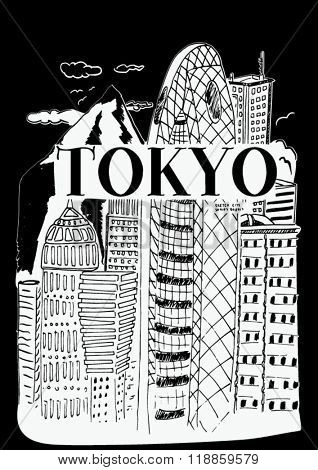 tokyo city sketch illustration