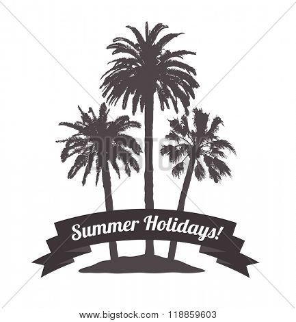 Tropical Background with Palms for T-shirt. Summer Traveling.