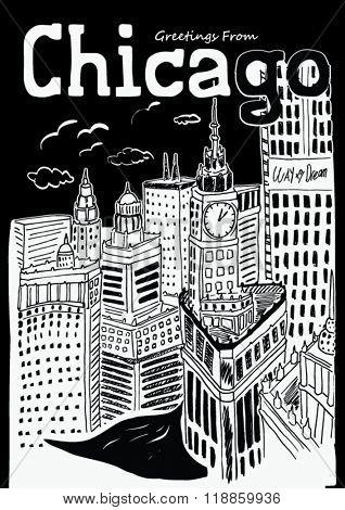 chicago city sketch illustration