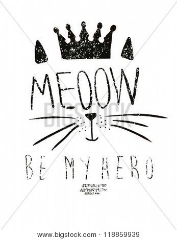 cutie  fashion cat illustration with crown