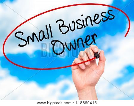 Man Hand Writing Small Business Owner With Black Marker On Visual Screen