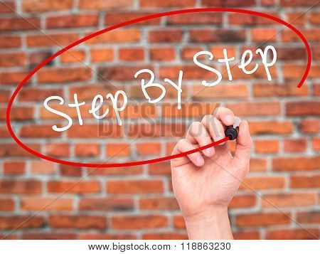 Man Hand Writing Step By Step With Black Marker On Visual Screen