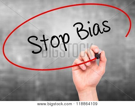 Man Hand Writing Stop Bias With Black Marker On Visual Screen