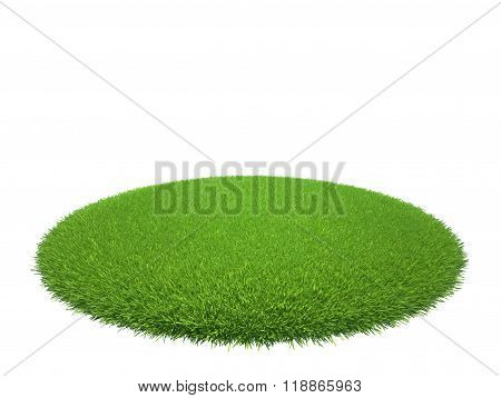 Green grass lawn island isolated on white background