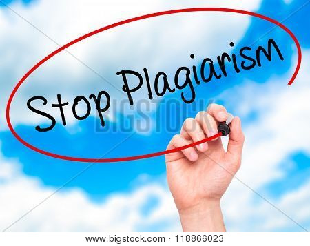 Man Hand Writing Stop Plagiarism With Black Marker On Visual Screen