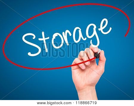Man Hand Writing Storage With Black Marker On Visual Screen