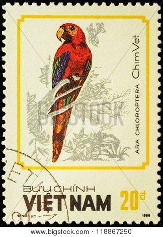 Bird Ara Chloroptera On Postage Stamp
