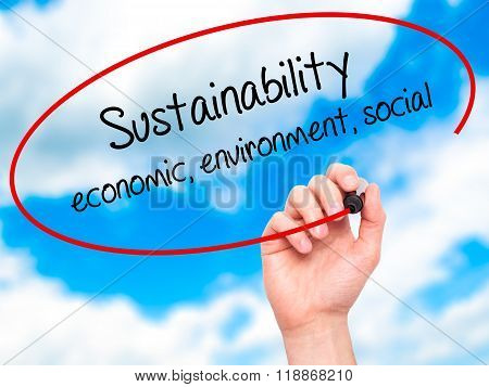 Man Hand Writing Sustainability  Economic, Environment, Social With Black Marker On Visual Screen