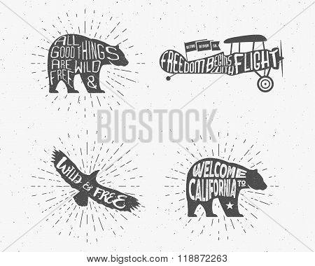 Set of Vintage silhouette hand drawn lettering slogans. Retro monochrome animal design with inspirat