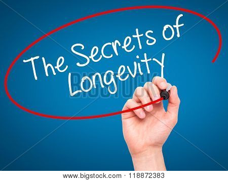 Man Hand Writing The Secrets Of Longevity With Black Marker On Visual Screen