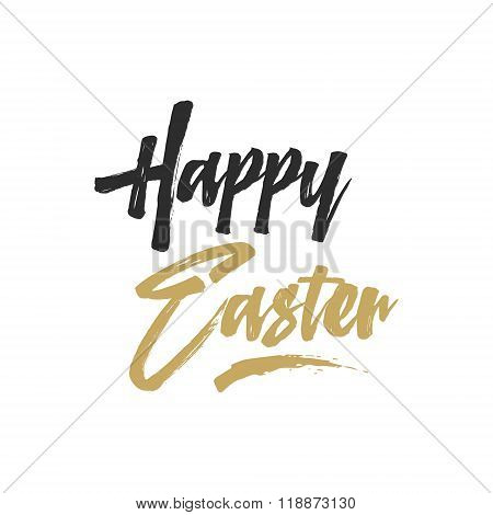 Easter sign - Happy Easter. Easter wishe overlay, lettering label design. Retro holiday badge. Hand