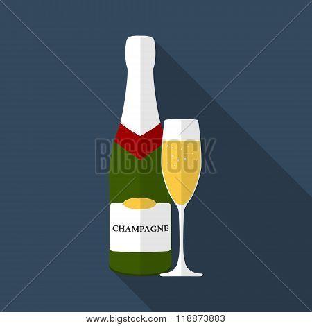 Champagne Bottle With Glass, Flat Design Modern Vector Illustration
