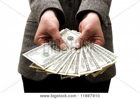 Businesswoman holding hundred dollar bills