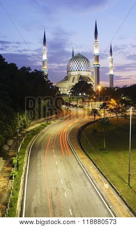 SHAH ALAM, 5th NOVEMBER 2015 - The Sultan Salahuddin Abdul Aziz Shah Mosque beautiful of dome and minaret. Also known as Blue Mosque.