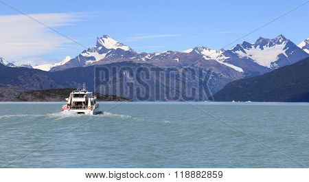 Ship in a glacial lake