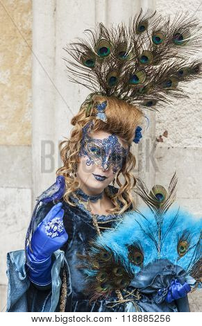 Peacock Disguised Woman - Venice Carnival 2014