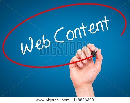 Man Hand Writing Web Content With Black Marker On Visual Screen