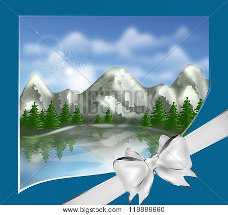 Mountain Landscape As Greeting Card