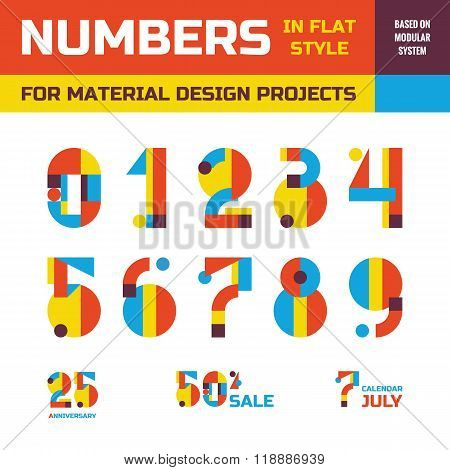 Abstract vector numbers in flat style design for material design creative projects.