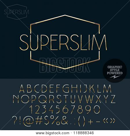 Gold slim sign for jewelry shop. Vector set of letters, numbers and symbols.