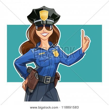 Beautiful girl police-officer in uniform. Vector illustration. Isolated on white background. Transparent objects used for lights and shadows drawing