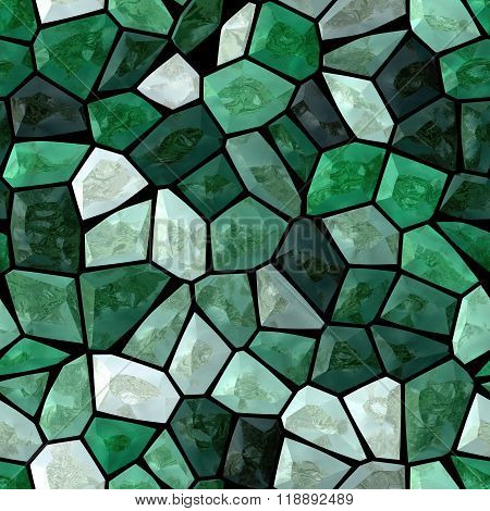 Emerald Green Marble Irregular Plastic Stony Mosaic Seamless Pattern Texture Background