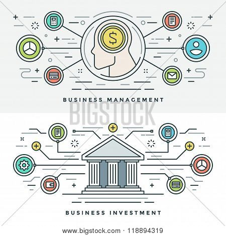 Flat line Investment and Business Management Concept Vector illustration. Modern thin linear stroke