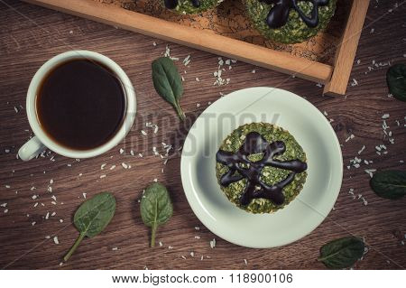 Vintage Photo, Fresh Muffins With Spinach, Desiccated Coconut, Chocolate Glaze And Cup Of Coffee, De