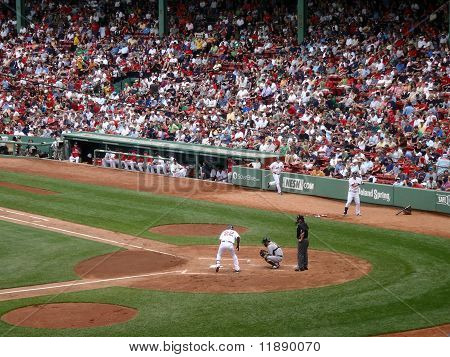 Red Sox Player Steps Into The Batters Box