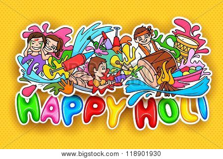 Happy Holi festival doodle