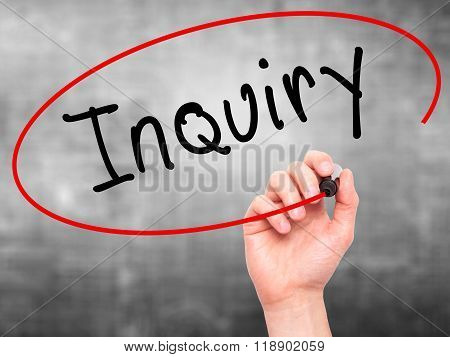 Man Hand Writing Inquiry With Marker On Transparent Wipe Board