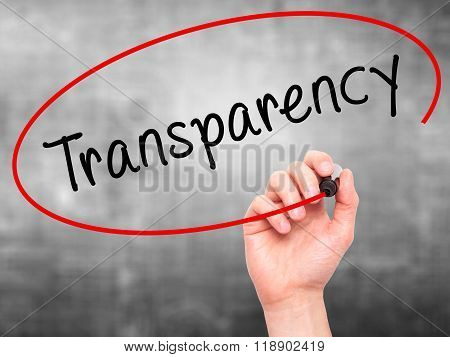 Man Hand Writing Transparency With Marker On Transparent Wipe Board