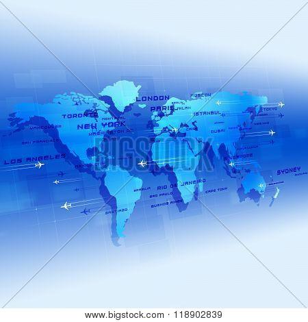 Global Aviation Blue Background