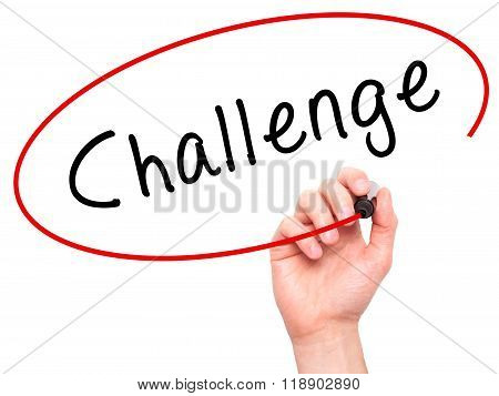 Man Hand Writing Challenge With Marker On Transparent Wipe Board