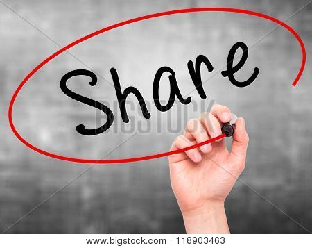 Man Hand Writing Share With Marker On Transparent Wipe Board