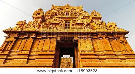 The magnificent temple entrance or Gopura architecture of Brihadeeswara Hindu temple at Thanjavur