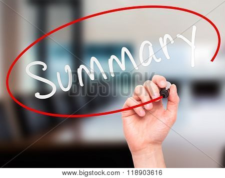 Man Hand Writing Summary With Marker On Transparent Wipe Board