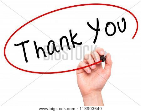Man Hand Writing Thank You With Marker On Transparent Wipe Board