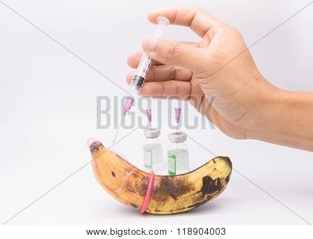 rotten banana in condom with hand injectionsexually transmitted disease concept poster